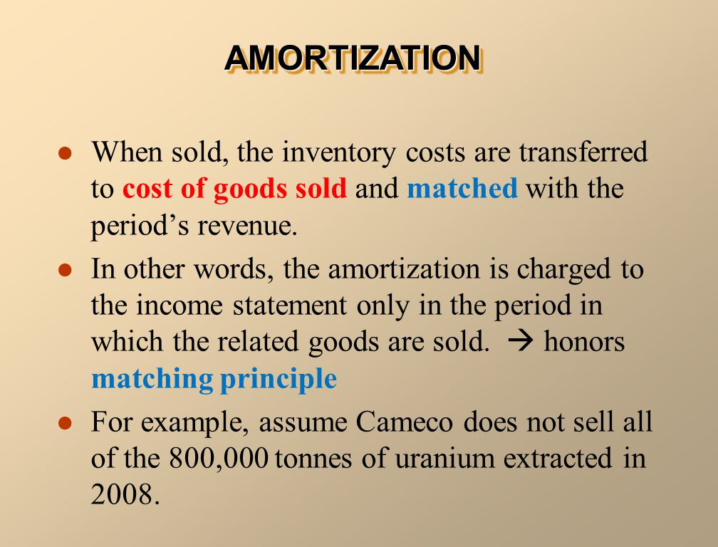 AMORTIZATIONAMORTIZATION When sold, the inventory costs are transferred to cost of goods sold and matched with the period's revenue.