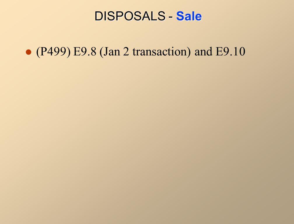 (P499) E9.8 (Jan 2 transaction) and E9.10 DISPOSALS - Sale