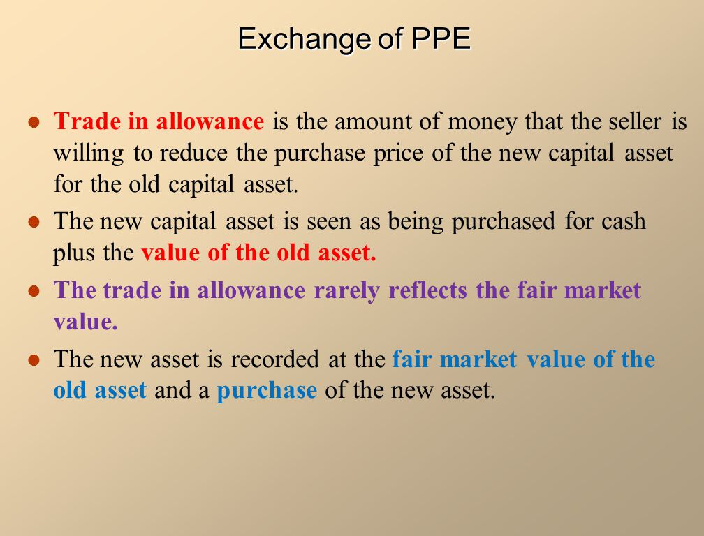 Trade in allowance is the amount of money that the seller is willing to reduce the purchase price of the new capital asset for the old capital asset.