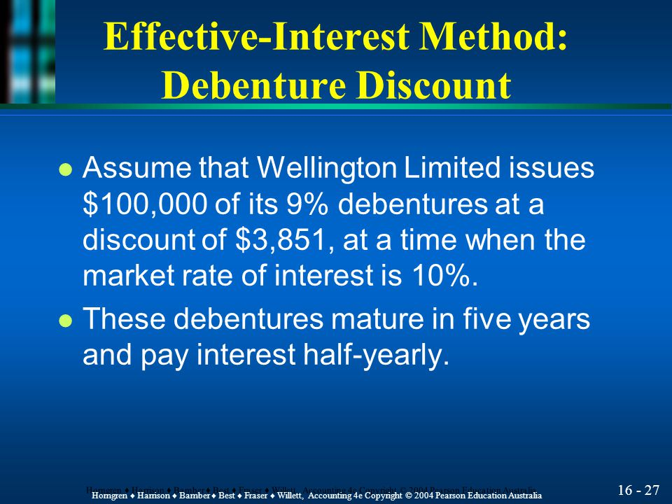 16 - 27 Horngren ♦ Harrison ♦ Bamber ♦ Best ♦ Fraser ♦ Willett, Accounting 4e Copyright © 2004 Pearson Education Australia Effective-Interest Method: Debenture Discount l Assume that Wellington Limited issues $100,000 of its 9% debentures at a discount of $3,851, at a time when the market rate of interest is 10%.