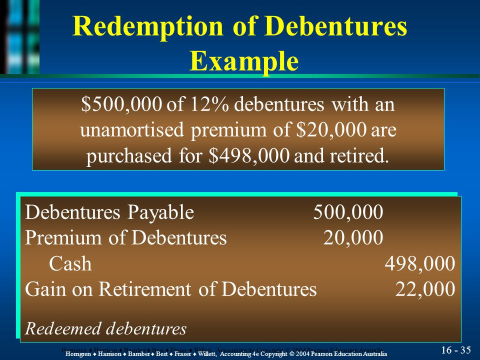 16 - 35 Horngren ♦ Harrison ♦ Bamber ♦ Best ♦ Fraser ♦ Willett, Accounting 4e Copyright © 2004 Pearson Education Australia Redemption of Debentures Example $500,000 of 12% debentures with an unamortised premium of $20,000 are purchased for $498,000 and retired.