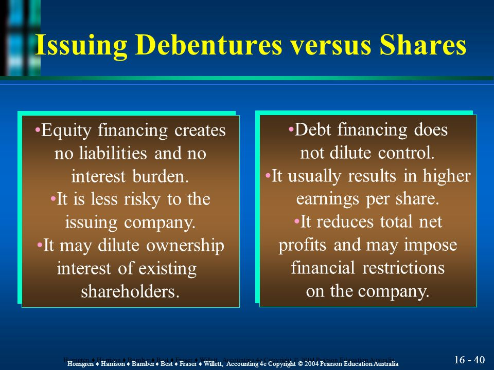 16 - 41 Horngren ♦ Harrison ♦ Bamber ♦ Best ♦ Fraser ♦ Willett, Accounting 4e Copyright © 2004 Pearson Education Australia Advantage of Issuing Debentures versus Shares Example l Suppose that Vista Limited, with net profits of $300,000 and with 100,000 ordinary shares, needs $500,000 for expansion.