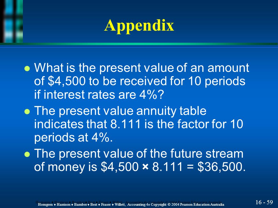 16 - 60 Horngren ♦ Harrison ♦ Bamber ♦ Best ♦ Fraser ♦ Willett, Accounting 4e Copyright © 2004 Pearson Education Australia Appendix l What is the present value of a lump sum of $100,000, 10 periods from now at 4%.