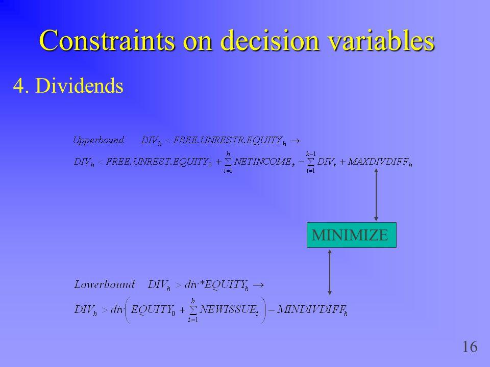 16 Constraints on decision variables 4. Dividends MINIMIZE