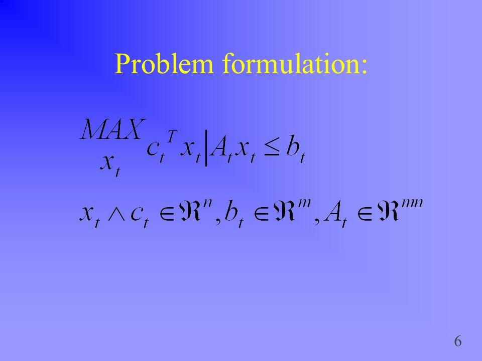 6 Problem formulation: