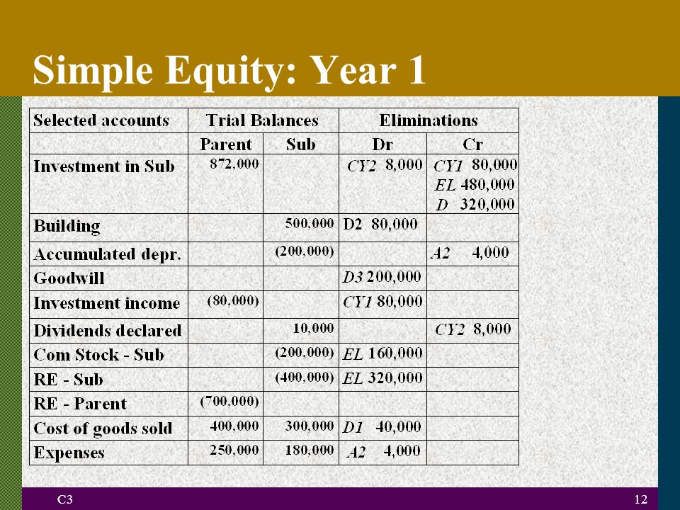 C312 Simple Equity: Year 1
