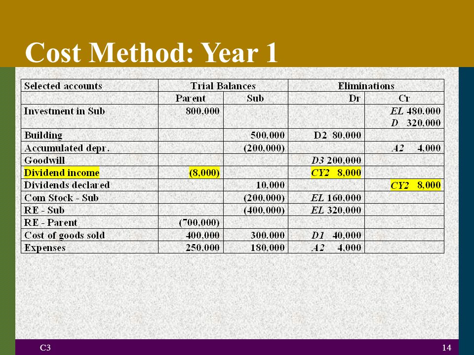C314 Cost Method: Year 1