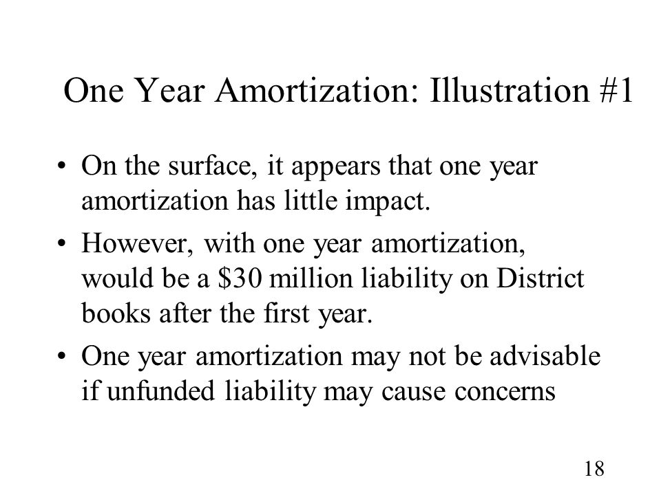 18 One Year Amortization: Illustration #1 On the surface, it appears that one year amortization has little impact.