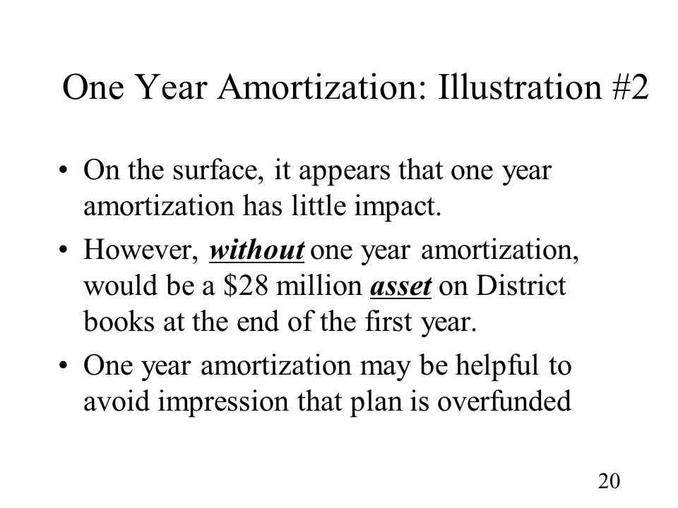 20 One Year Amortization: Illustration #2 On the surface, it appears that one year amortization has little impact.