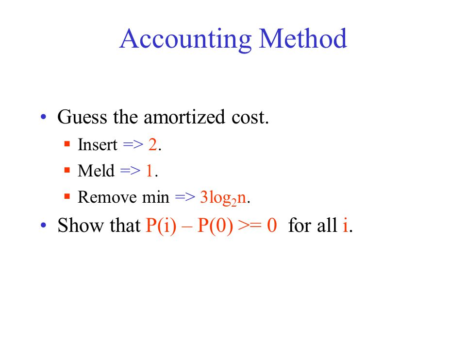 Accounting Method Guess the amortized cost.  Insert => 2.