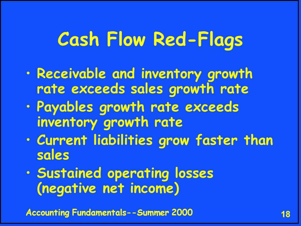 Accounting Fundamentals--Summer 2000 18 Cash Flow Red-Flags Receivable and inventory growth rate exceeds sales growth rate Payables growth rate exceeds inventory growth rate Current liabilities grow faster than sales Sustained operating losses (negative net income)