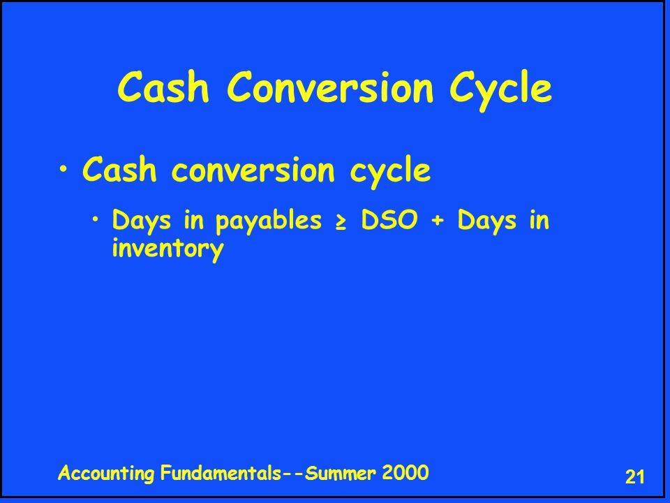 Accounting Fundamentals--Summer 2000 21 Cash Conversion Cycle Cash conversion cycle Days in payables ≥ DSO + Days in inventory