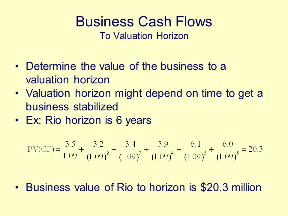 Determine the value of the business to a valuation horizon Valuation horizon might depend on time to get a business stabilized Ex: Rio horizon is 6 years Business value of Rio to horizon is $20.3 million Business Cash Flows To Valuation Horizon