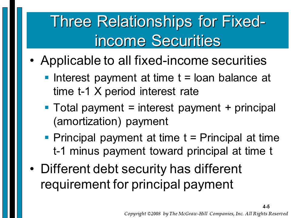 4-5 Copyright ©2008 by The McGraw-Hill Companies, Inc. All Rights Reserved Three Relationships for Fixed- income Securities Applicable to all fixed-in