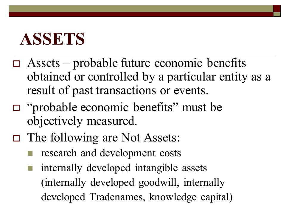 Intangible Assets  Trademarks - a word, phrase, or symbol that identifies an enterprise or product.