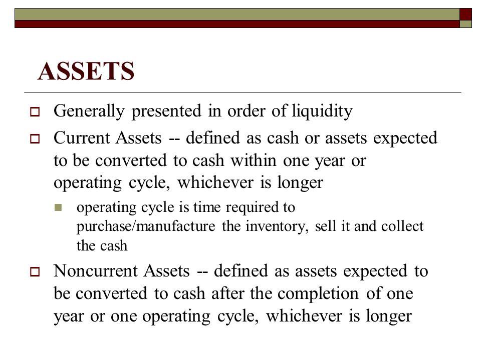 Current Assets  Cash and cash equivalents  Marketable Securities (short-term)  Accounts Receivable  Notes Receivable (short-term)  Inventory  Prepaid Expenses