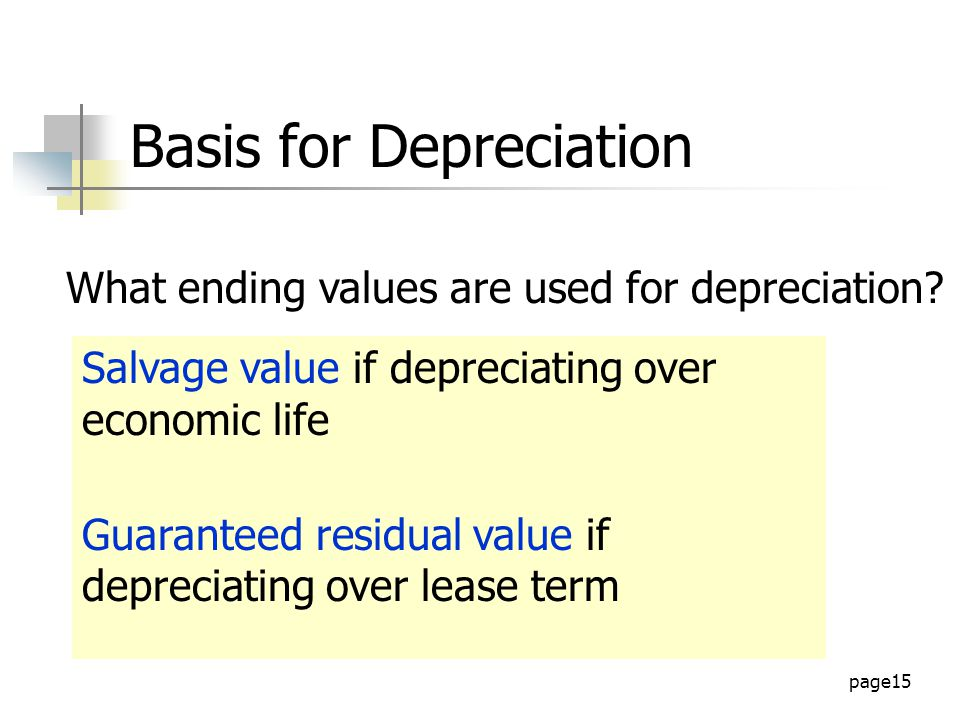 page15 Basis for Depreciation What ending values are used for depreciation.