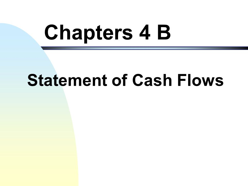Statement of Cash Flows41 + Investment Loss under equity method (contd.) 2/4/x2 Investment in Stock40,000 Cash40,000 12/31/x2 Green's Loss of Year x2 = 100,000 Loss in Investment 30,000 Investment in Stock30,000