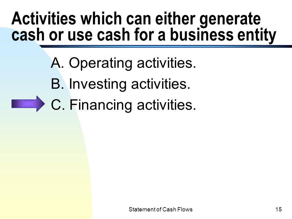 Statement of Cash Flows14 Notes Receivable n Notes Receivable (current and non- current), including: u Lending money (N/R , cash outflow); u Collecti