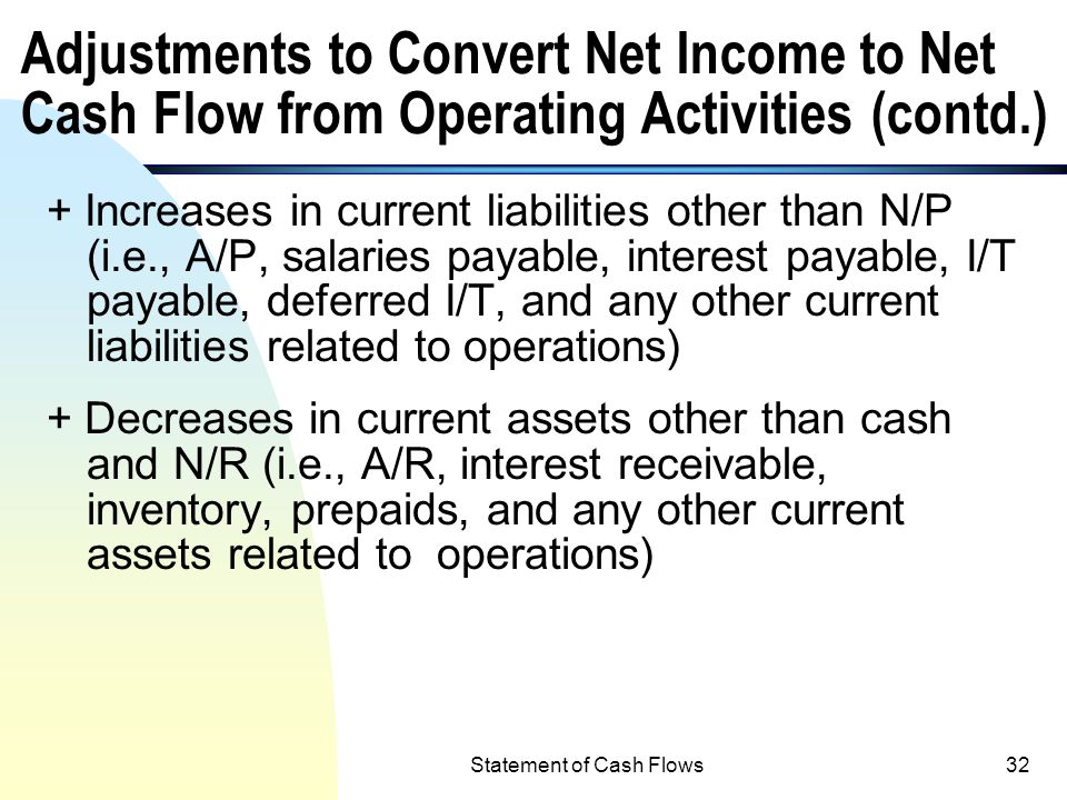 Statement of Cash Flows31 Adjustments to Convert Net Income to Net Cash Flow from Operating Activities + Depreciation, depletion and amortization expe