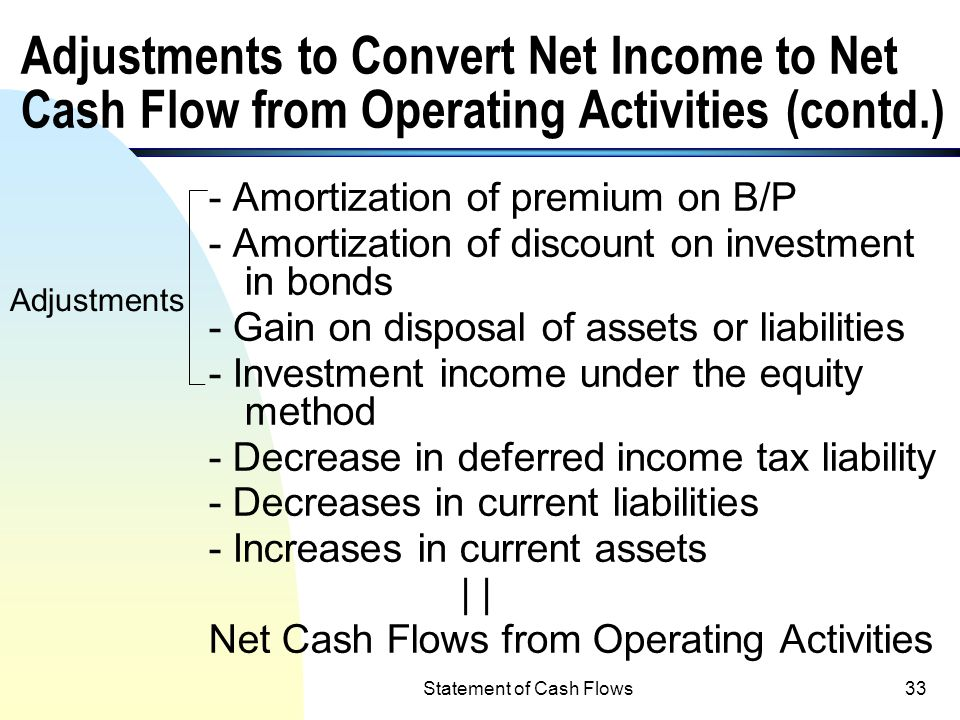 Statement of Cash Flows32 Adjustments to Convert Net Income to Net Cash Flow from Operating Activities (contd.) + Increases in current liabilities oth