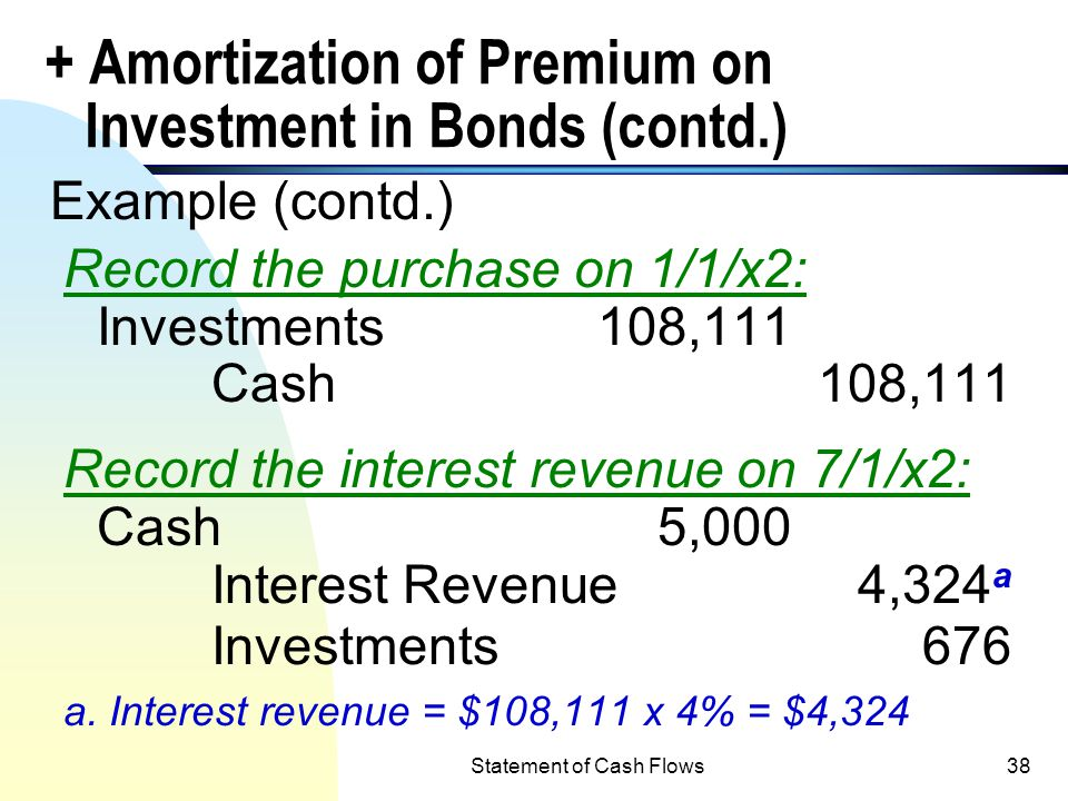 Statement of Cash Flows37 Adjustments: + Amortization of Premium on Investment in Bonds n Example: GEO Corp. purchased $100,000, 10% 5-year bonds on 1