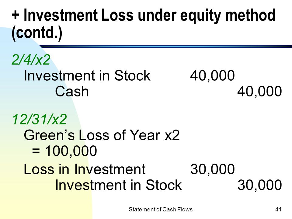 Statement of Cash Flows40 Adjustments: + Investment Loss under equity method n Equity method must be used to account for return on investment in stock