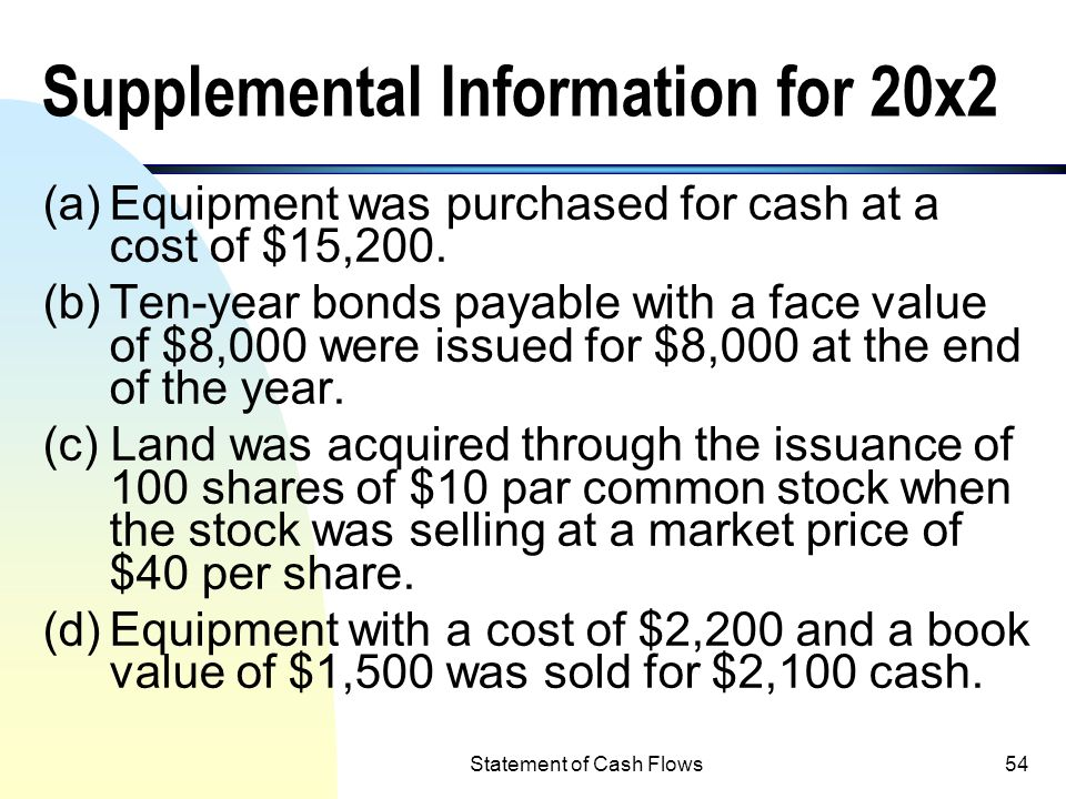 Statement of Cash Flows53 Retained Earnings (20x2) Beginning balance of retained earnings$13,300 Add: Net Income 8,400 21,700 Less: Dividends (1,800)