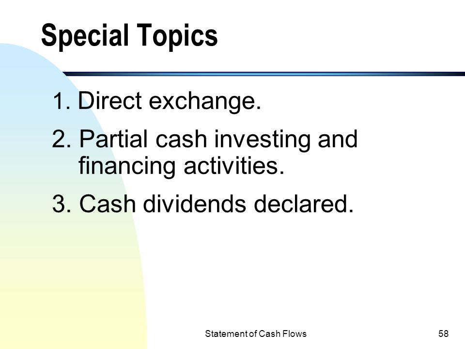 Statement of Cash Flows57 Schedule 1: Investing & financing activities not affecting cash flows: Investing activities: Acquisition of land by Issuance