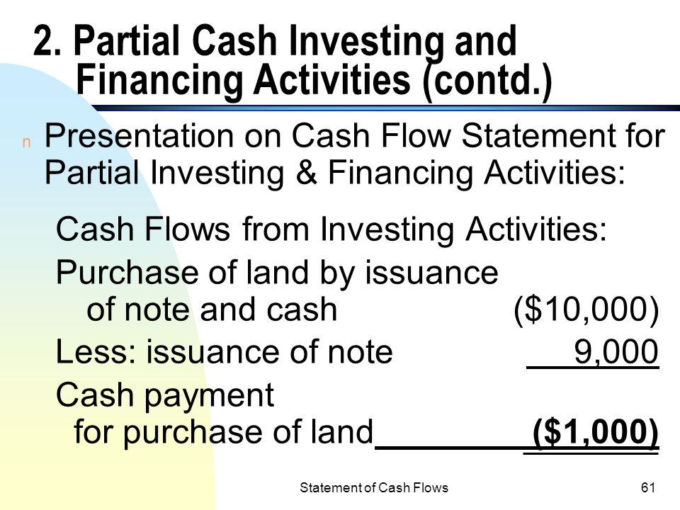 Statement of Cash Flows60 2. Partial Cash Investing and Financing Activities n Example: a cquiring land costing $10,000 by paying $1,000 down and sign