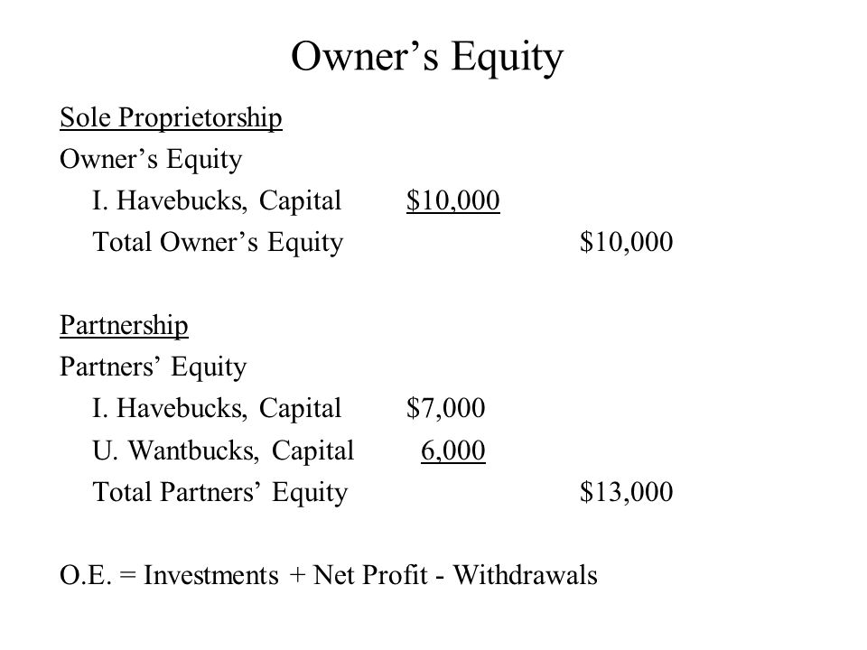 Owner's Equity Sole Proprietorship Owner's Equity I.