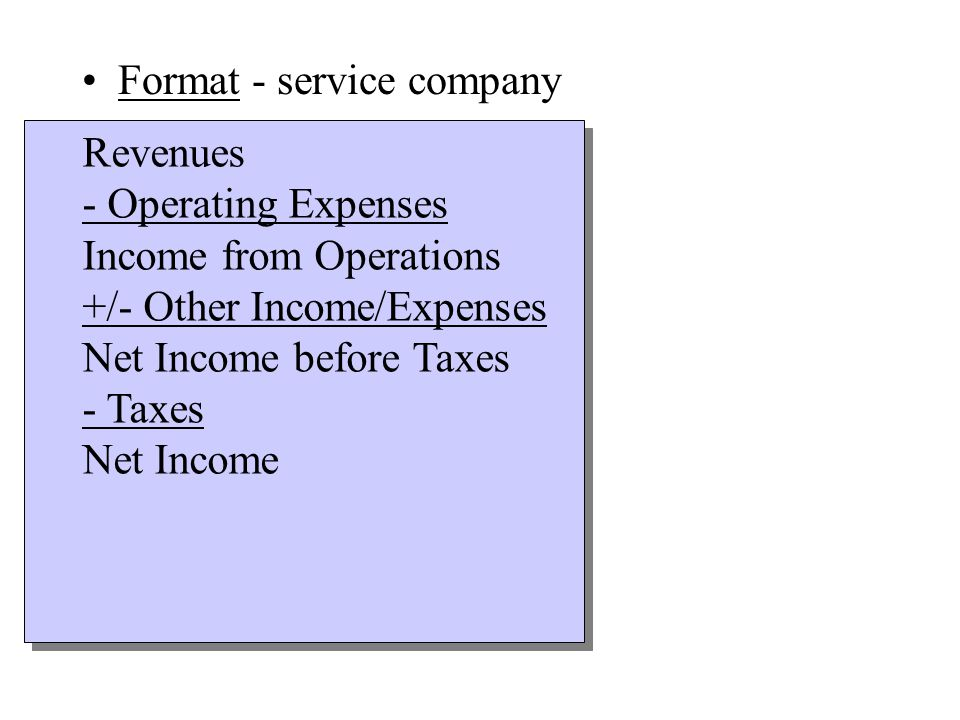 Format - service company Revenues - Operating Expenses Income from Operations +/- Other Income/Expenses Net Income before Taxes - Taxes Net Income