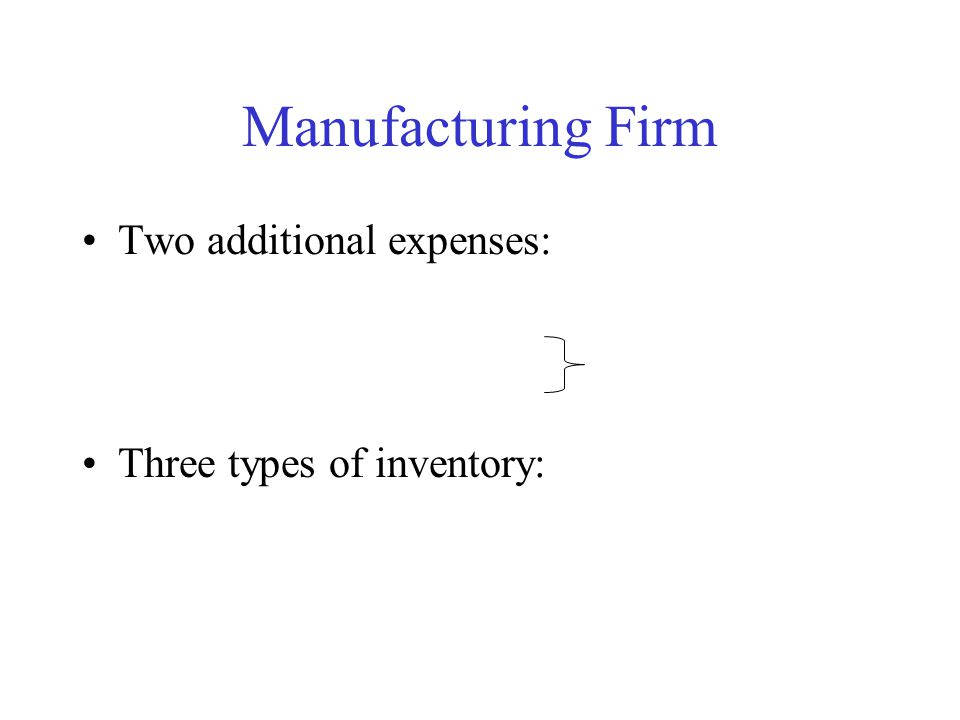 Manufacturing Firm Two additional expenses: Three types of inventory: