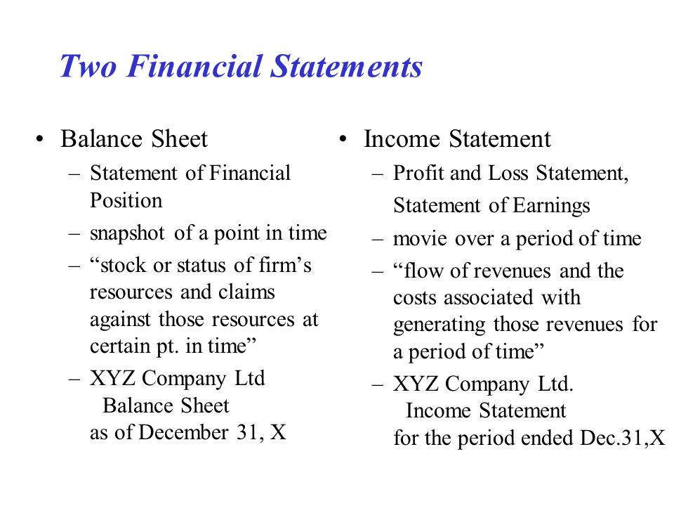 Two Financial Statements Balance Sheet –Statement of Financial Position –snapshot of a point in time – stock or status of firm's resources and claims against those resources at certain pt.