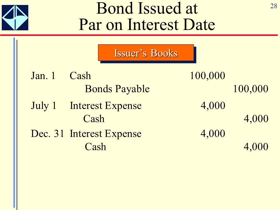 28 Bond Issued at Par on Interest Date Issuer's Books Jan.