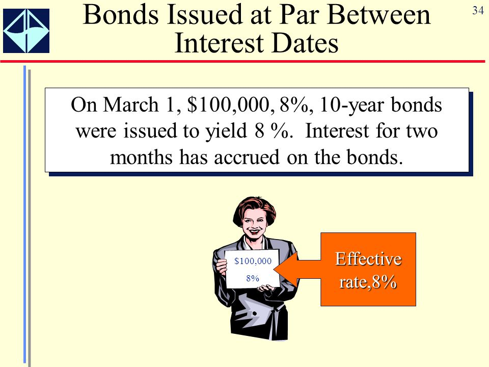 34 Bonds Issued at Par Between Interest Dates On March 1, $100,000, 8%, 10-year bonds were issued to yield 8 %. Interest for two months has accrued on