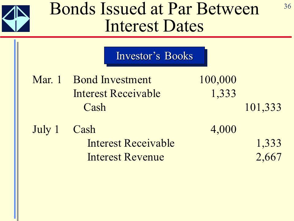 36 Investor's Books Bonds Issued at Par Between Interest Dates Mar.