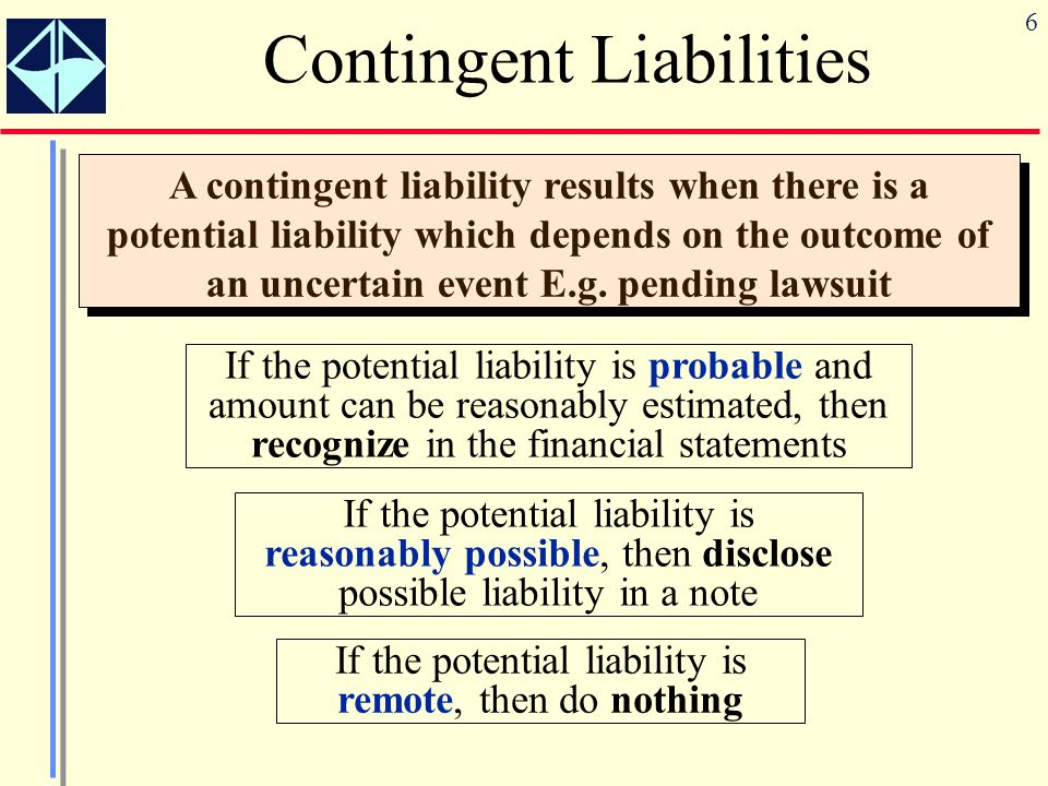 6 Contingent Liabilities A contingent liability results when there is a potential liability which depends on the outcome of an uncertain event E.g. pe