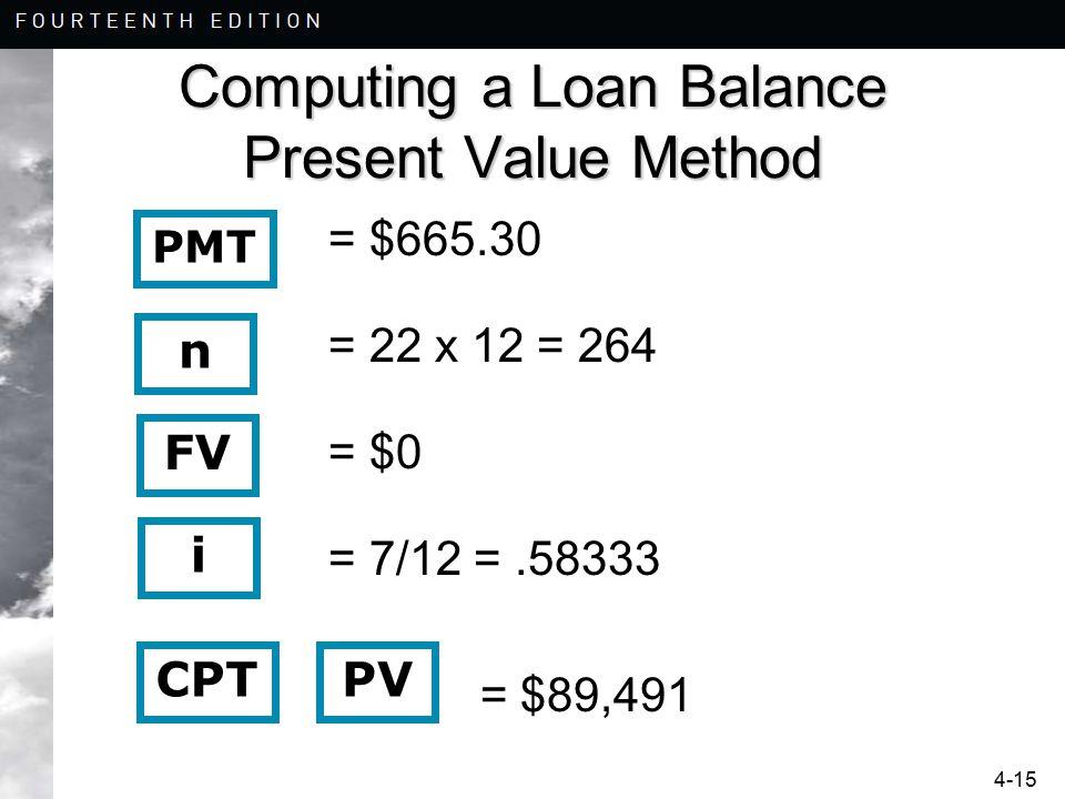 4-15 Computing a Loan Balance Present Value Method = $665.30 = 22 x 12 = 264 = $0 = 7/12 =.58333 = $89,491 n i CPT FV PMT PV