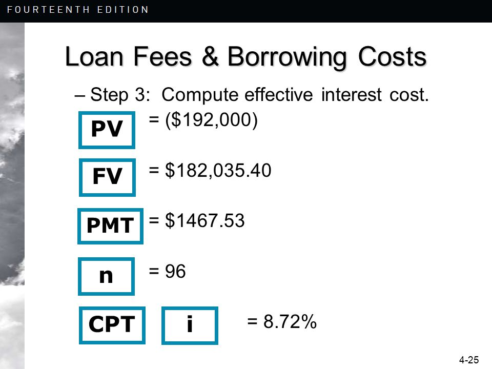 4-25 Loan Fees & Borrowing Costs –Step 3: Compute effective interest cost. = ($192,000) = $182,035.40 = $1467.53 = 96 = 8.72% n i CPT FV PMT PV