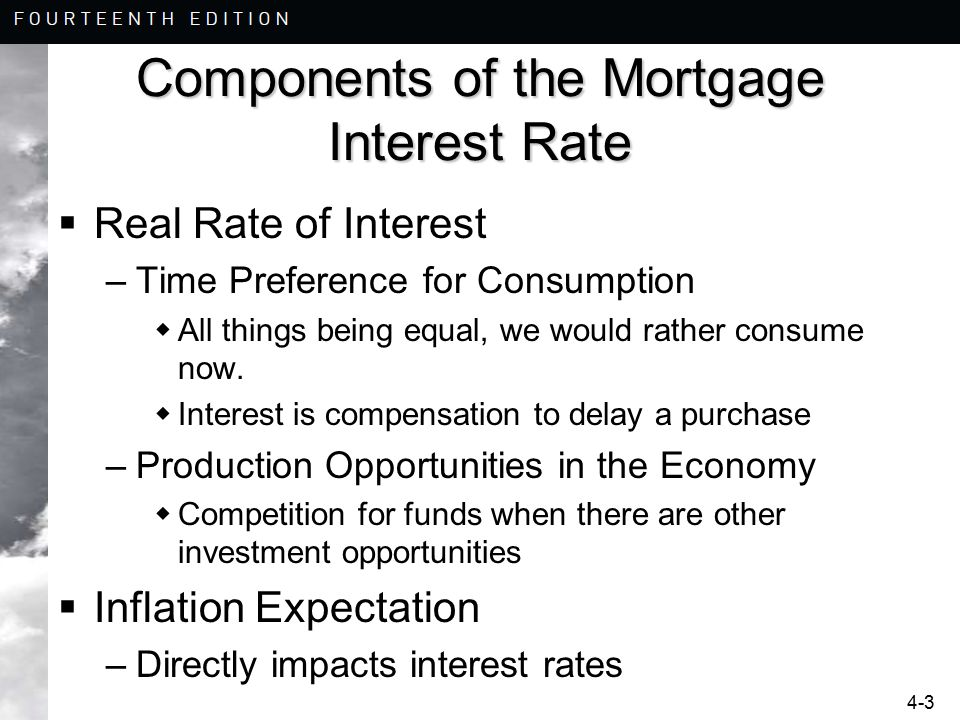 4-3 Components of the Mortgage Interest Rate  Real Rate of Interest –Time Preference for Consumption  All things being equal, we would rather consum