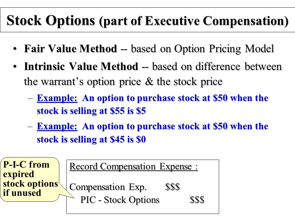 Stock Options (part of Executive Compensation) Fair Value Method -- based on Option Pricing ModelFair Value Method -- based on Option Pricing Model Intrinsic Value Method -- based on difference between the warrant's option price & the stock priceIntrinsic Value Method -- based on difference between the warrant's option price & the stock price –Example: An option to purchase stock at $50 when the stock is selling at $55 is $5 –Example: An option to purchase stock at $50 when the stock is selling at $45 is $0 Record Compensation Expense : Compensation Exp.