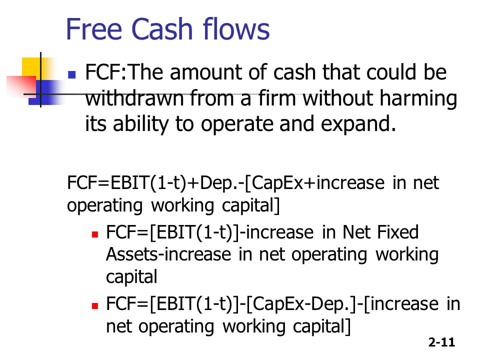 2-11 Free Cash flows FCF:The amount of cash that could be withdrawn from a firm without harming its ability to operate and expand. FCF=EBIT(1-t)+Dep.-