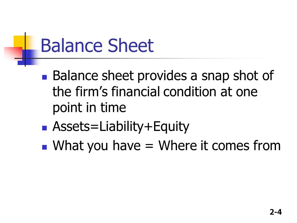 2-4 Balance Sheet Balance sheet provides a snap shot of the firm's financial condition at one point in time Assets=Liability+Equity What you have = Wh