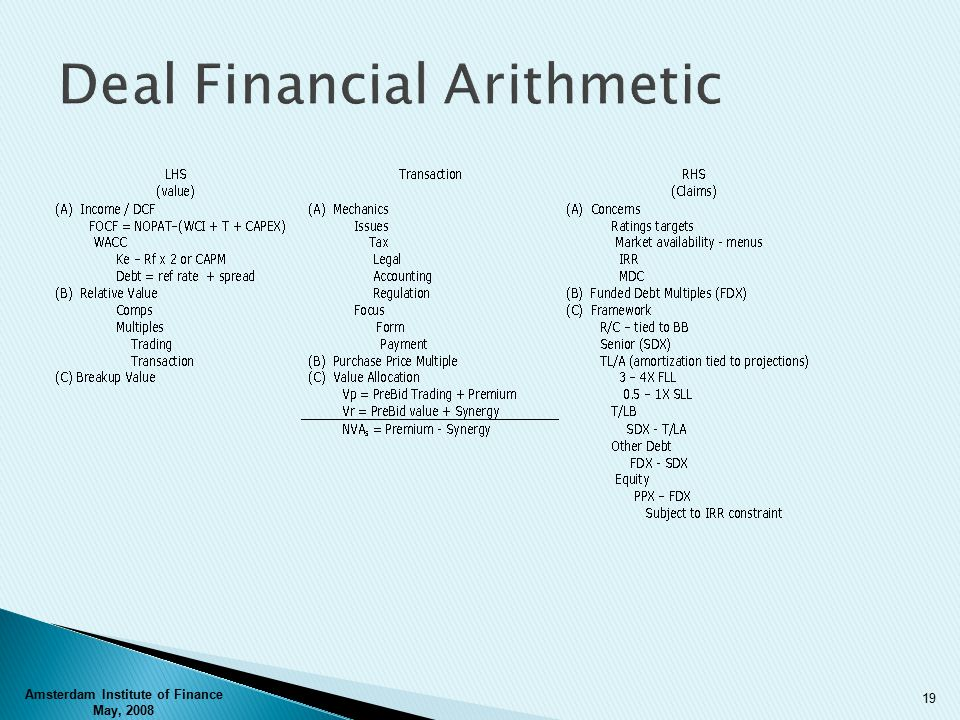 Deal Financial Arithmetic Amsterdam Institute of Finance May, 2008 19