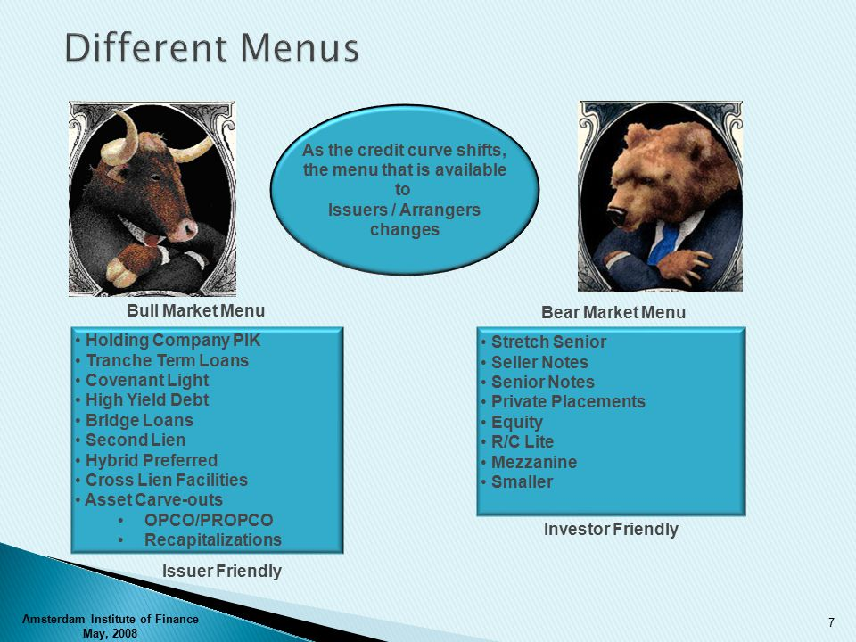 Bull Market Menu Bear Market Menu As the credit curve shifts, the menu that is available to Issuers / Arrangers changes Holding Company PIK Tranche Term Loans Covenant Light High Yield Debt Bridge Loans Second Lien Hybrid Preferred Cross Lien Facilities Asset Carve-outs OPCO/PROPCO Recapitalizations Stretch Senior Seller Notes Senior Notes Private Placements Equity R/C Lite Mezzanine Smaller Issuer Friendly Investor Friendly Amsterdam Institute of Finance May, 2008 7