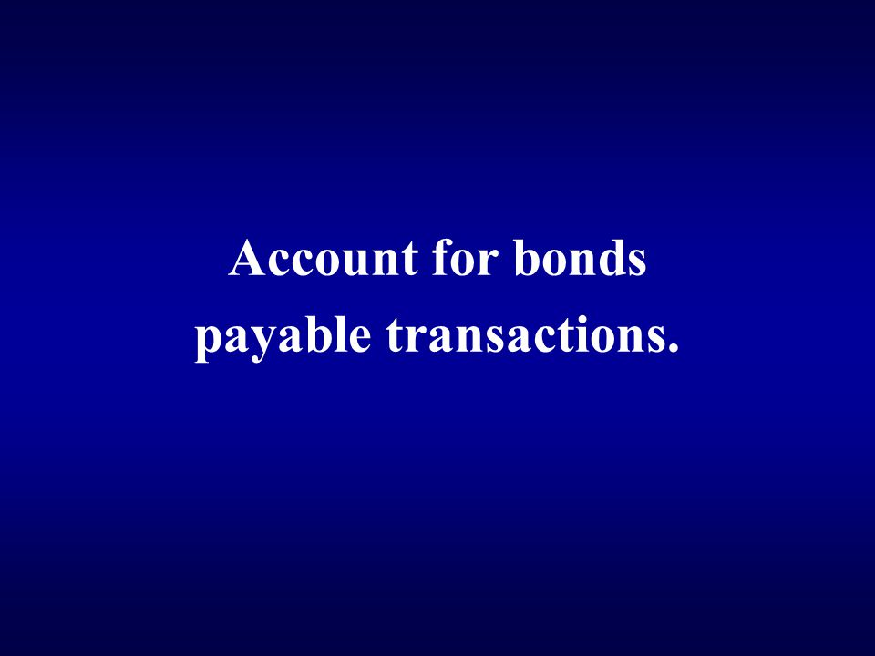 Account for bonds payable transactions.