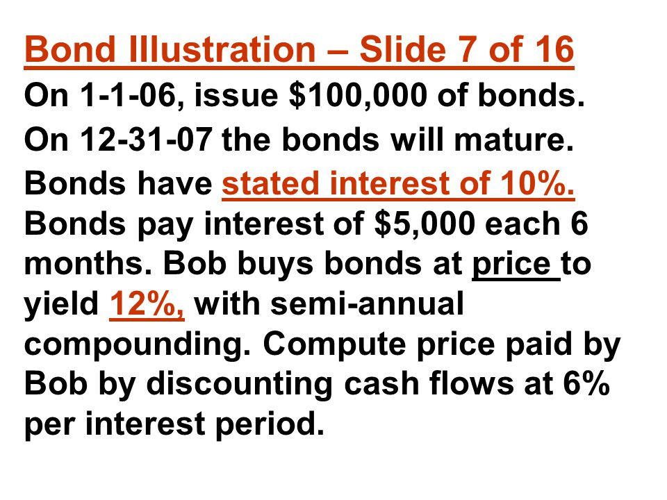 Bond IIlustration – Slide 7 of 16 On 1-1-06, issue $100,000 of bonds.