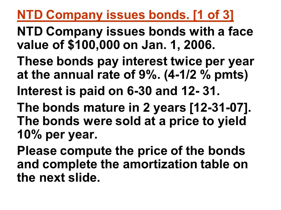 NTD Company issues bonds. [1 of 3] NTD Company issues bonds with a face value of $100,000 on Jan.