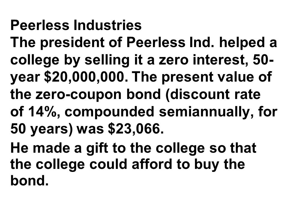 Peerless Industries The president of Peerless Ind.